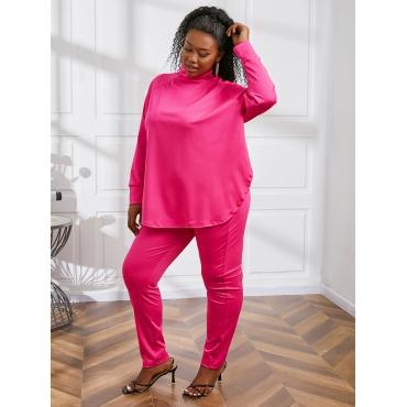 LW BASICS Plus Size Half A Turtleneck Loose Pants Set