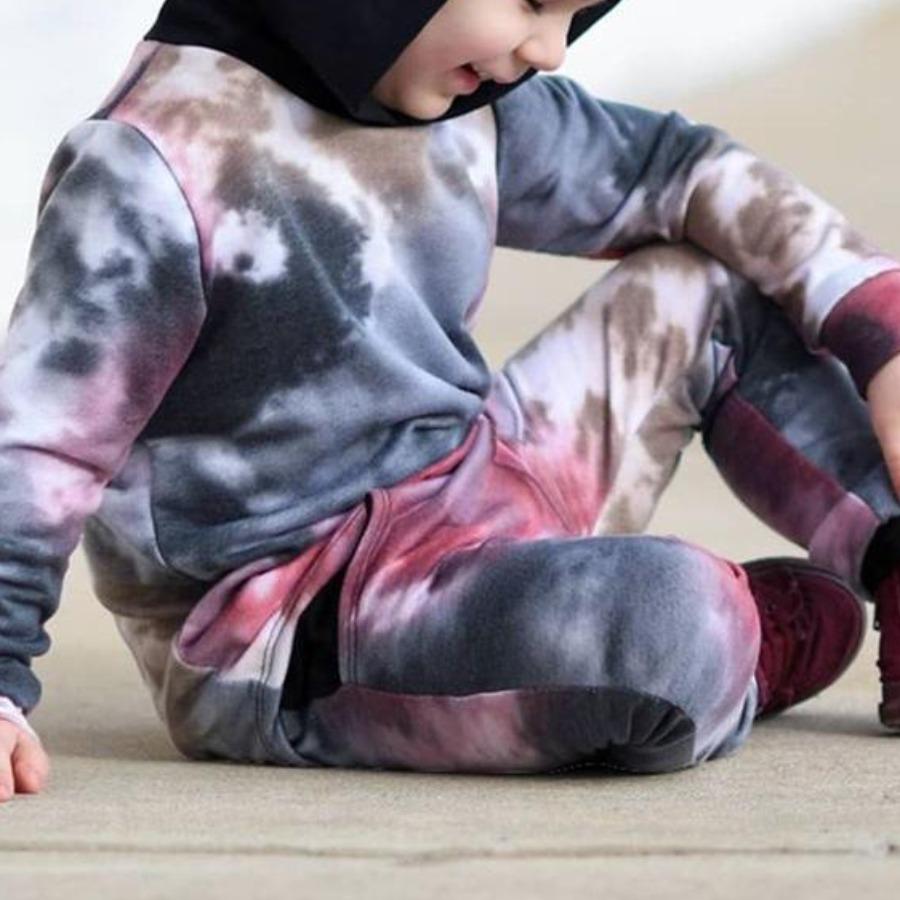 LW COTTON Boy Hooded Collar Tie-dye Pants Set