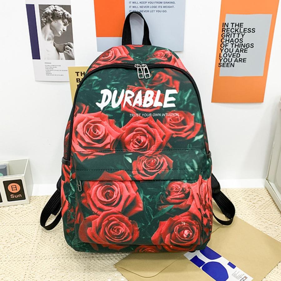 Lovely Floral Letter Print Backpack