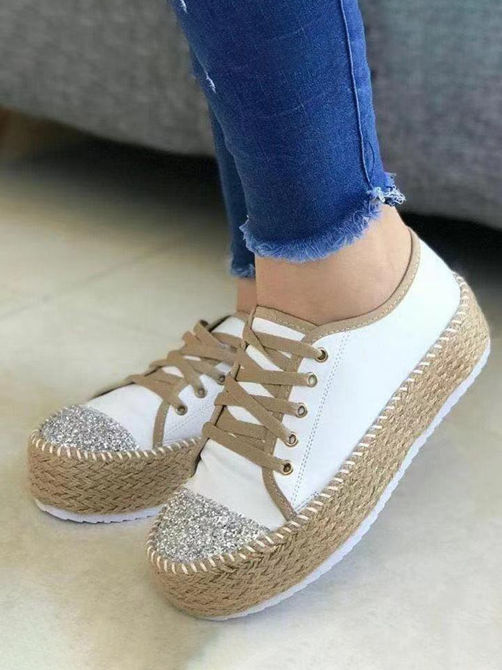 LW Sequin Lace-up Flats