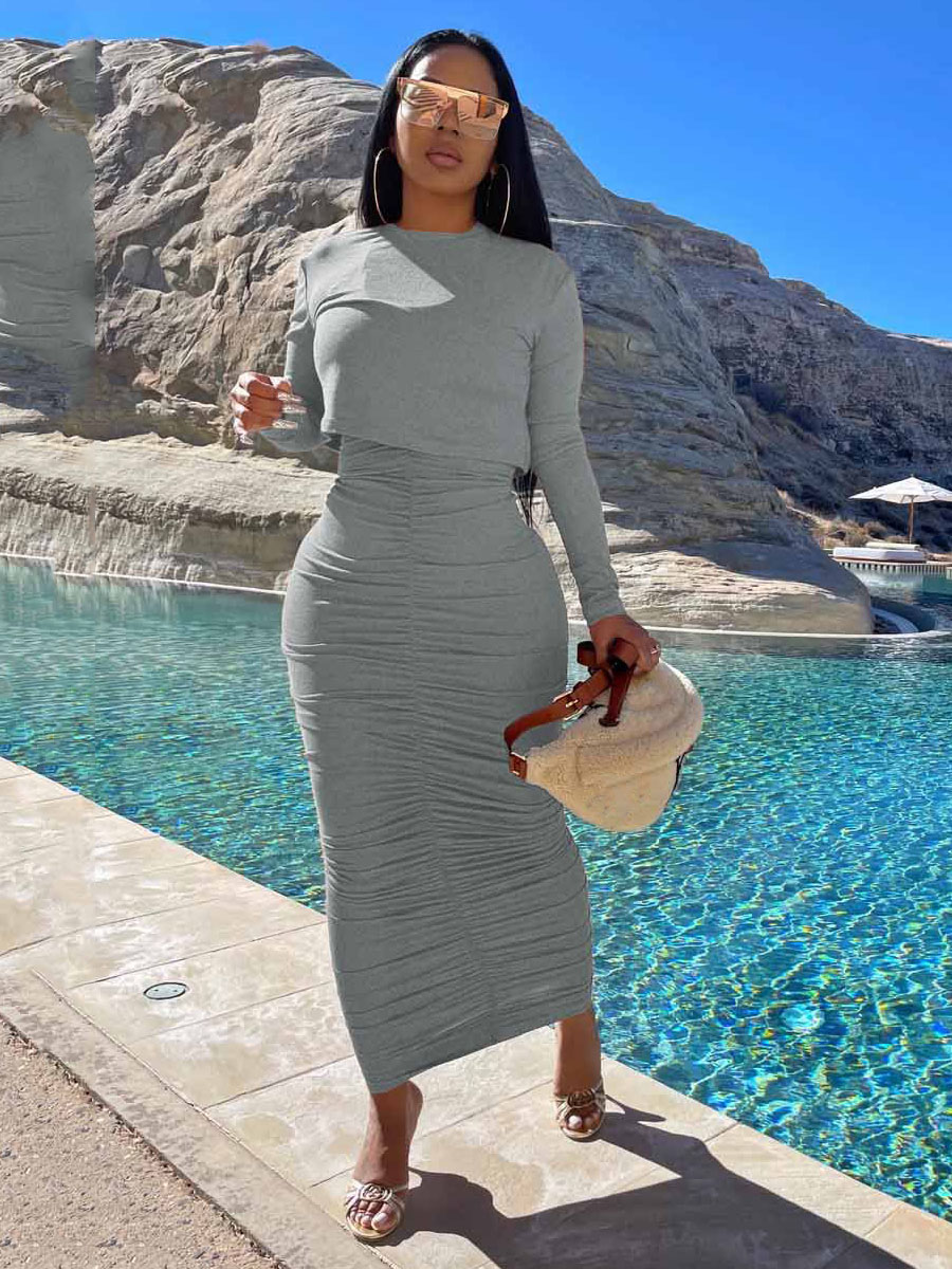 Lovely High-waisted Ruched Skirt Set