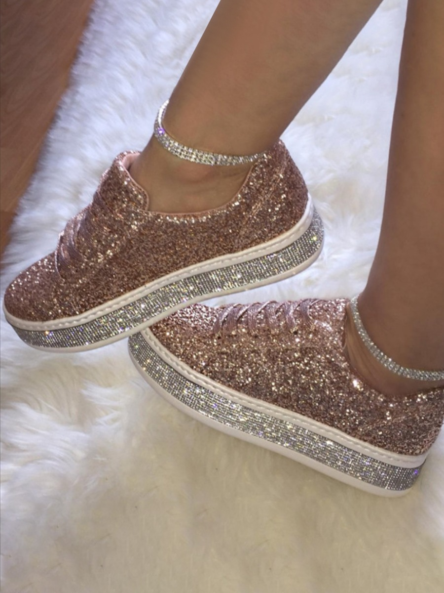 LW Round-toe Sequined Flats