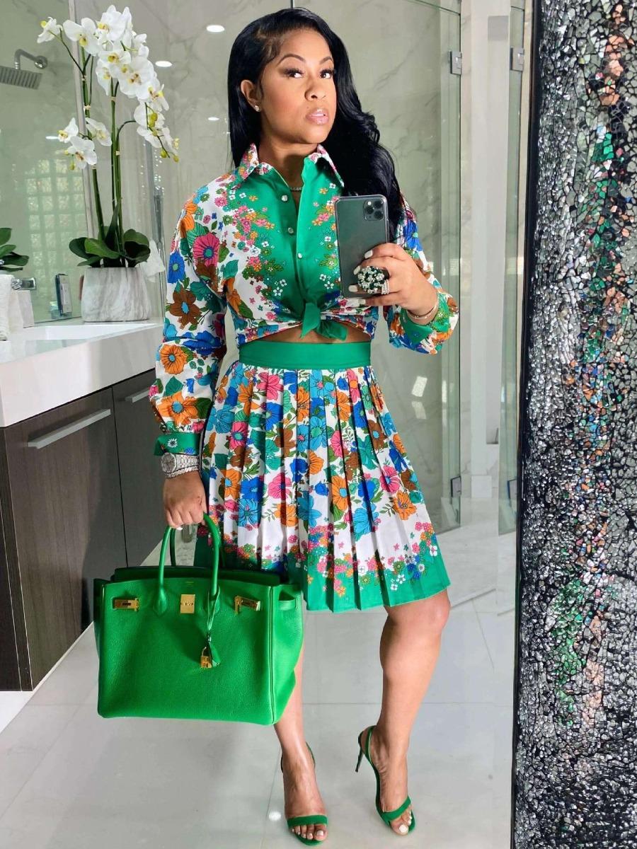 Lovely Floral Print Pleated Skirt Set