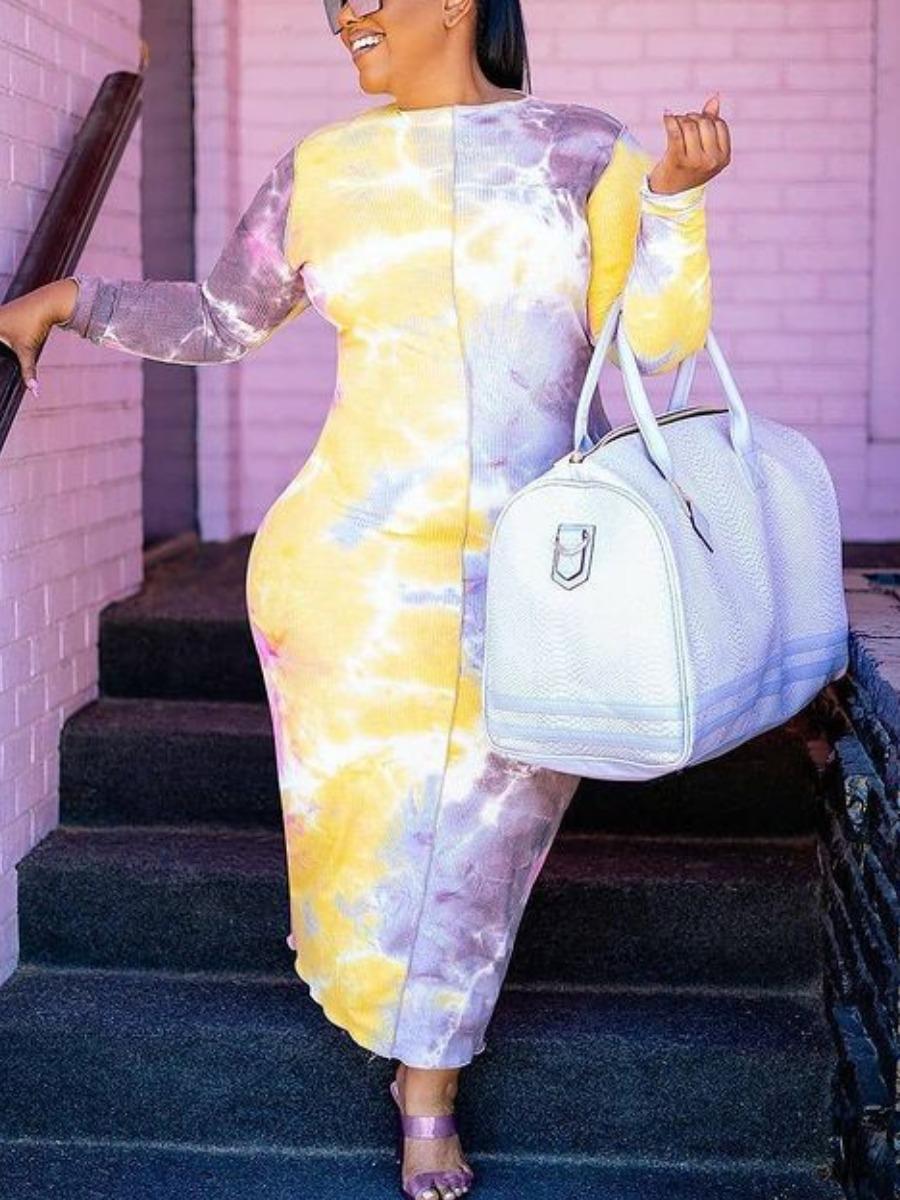 LW Plus Size Round Neck Tie-dye Bodycon Dress