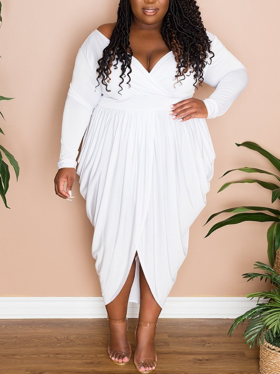 LW Plus Size Fold Design Draped Dress
