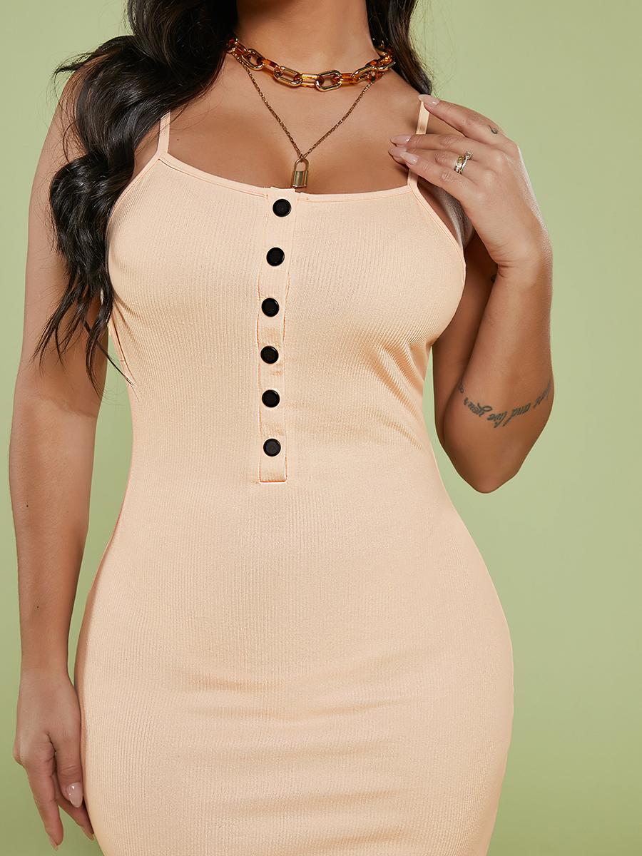 LW Button Design Bodycon Cami Dress