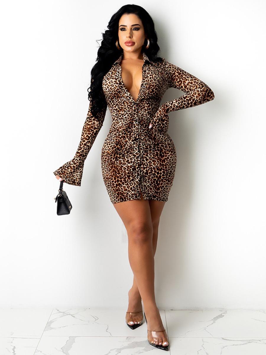 Lovely Leopard Print Flared Bodycon Shirt Dress
