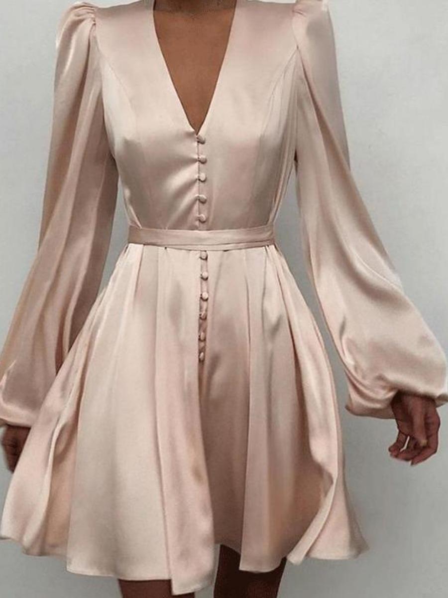 LW V Neck Ruffle Design A Line Dress