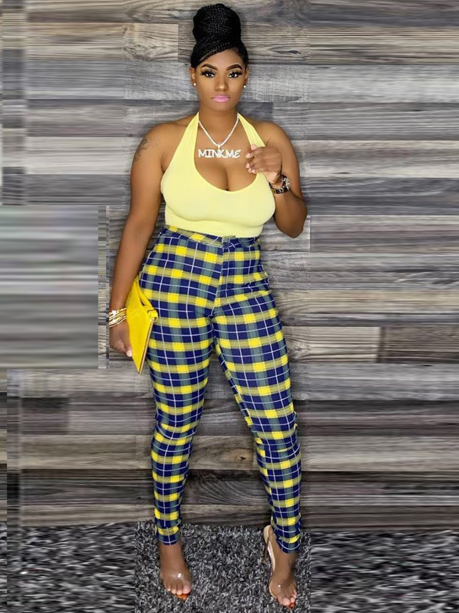 Lovely U Neck Plaid Print Pants Set