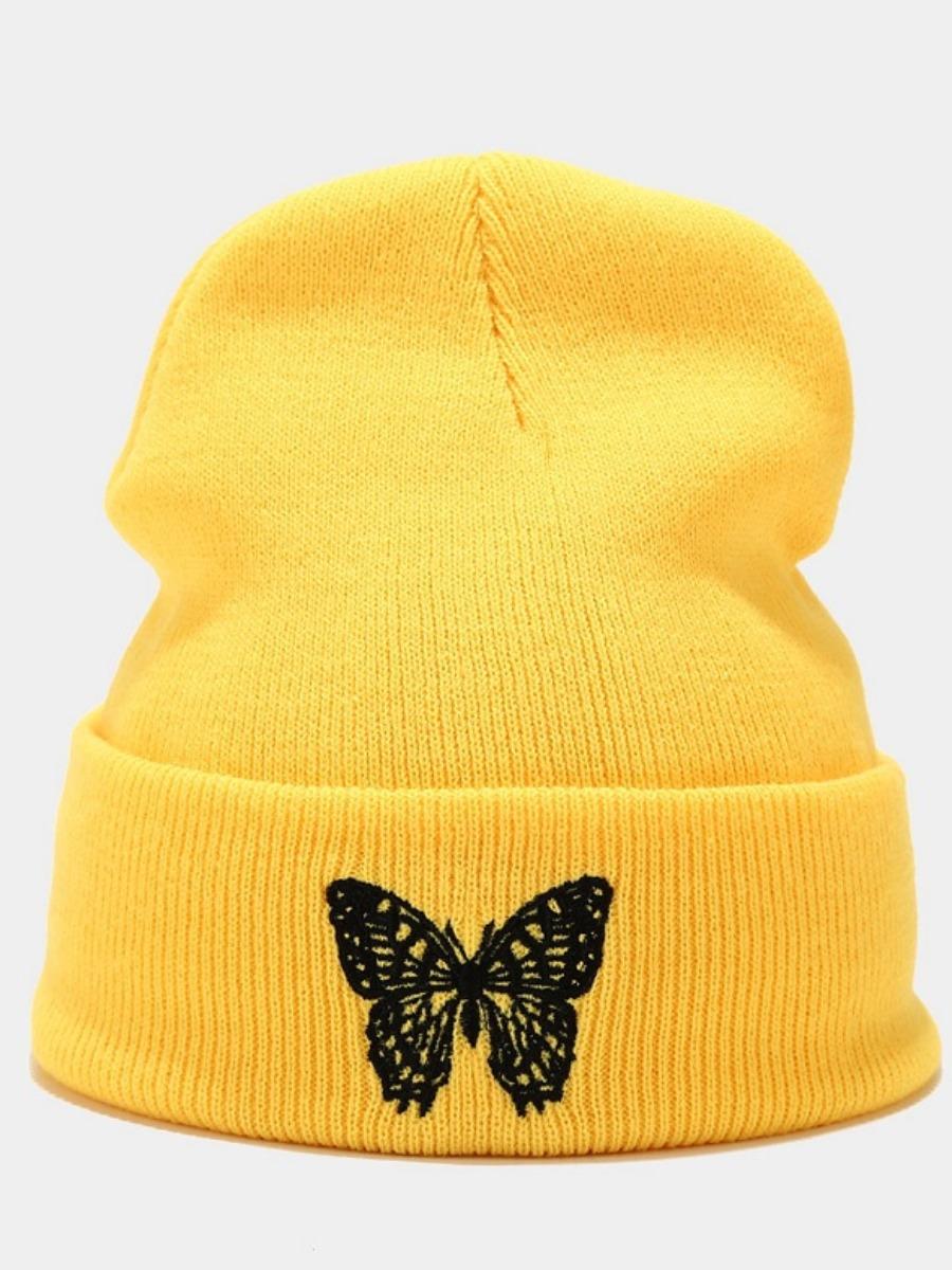 Lovely Butterfly Print Rib-Knit Hat