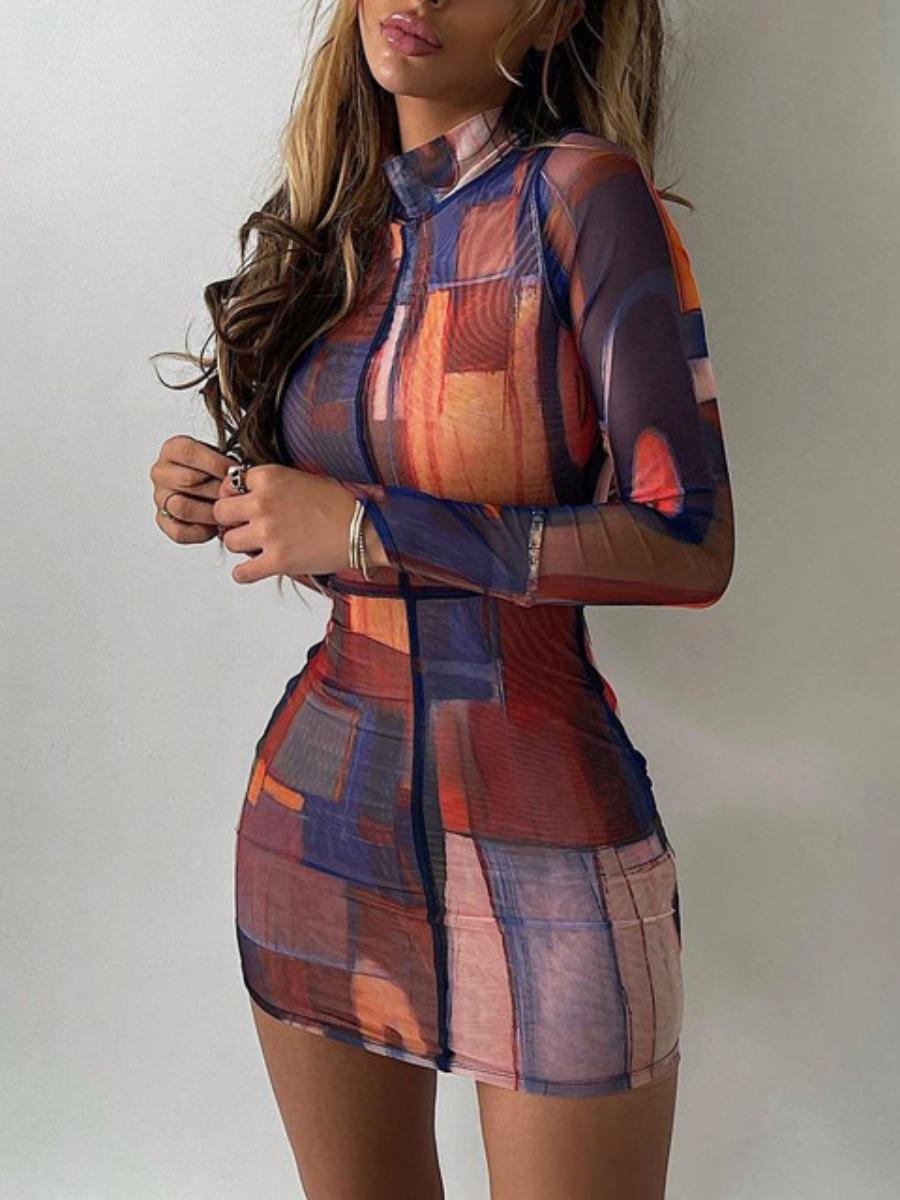 LW Turtleneck Mixed Print Bodycon Dress