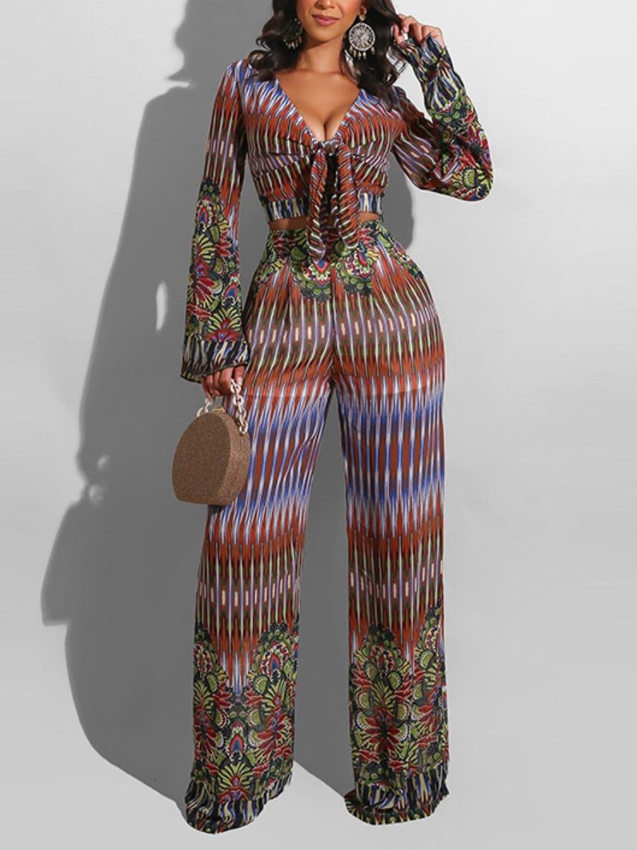 LW Floral Print Striped Wide Leg Pants Set