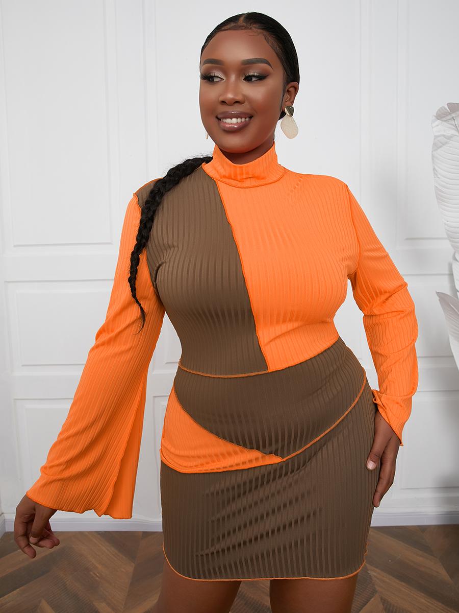 LW Plus Size Turtleneck Color-lump Rib-Knit Dress