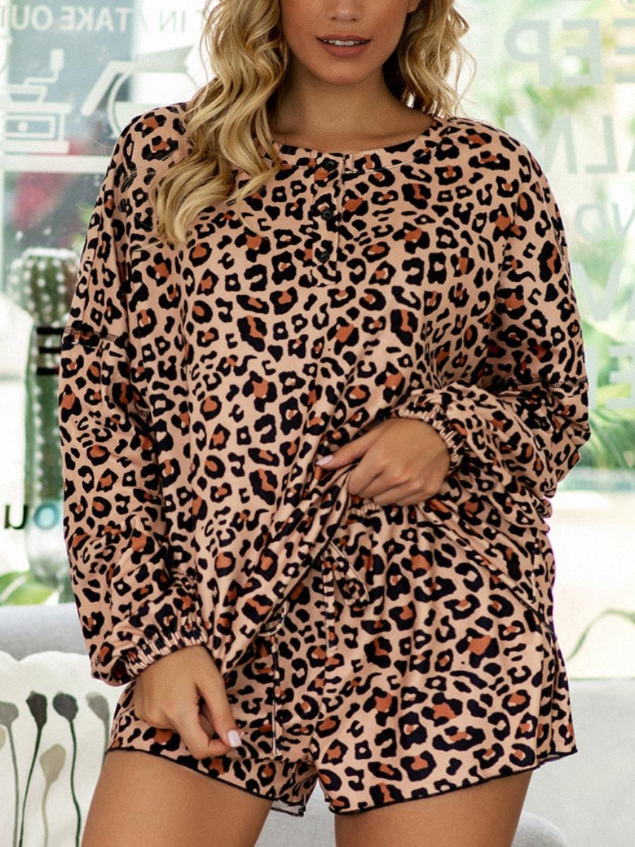 LW Plus Size Round Neck Leopard Print Shorts Set