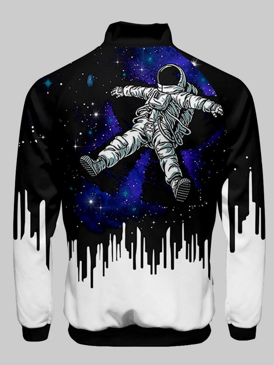 Lovely Men Astronaut Starry Sky Print Jacket