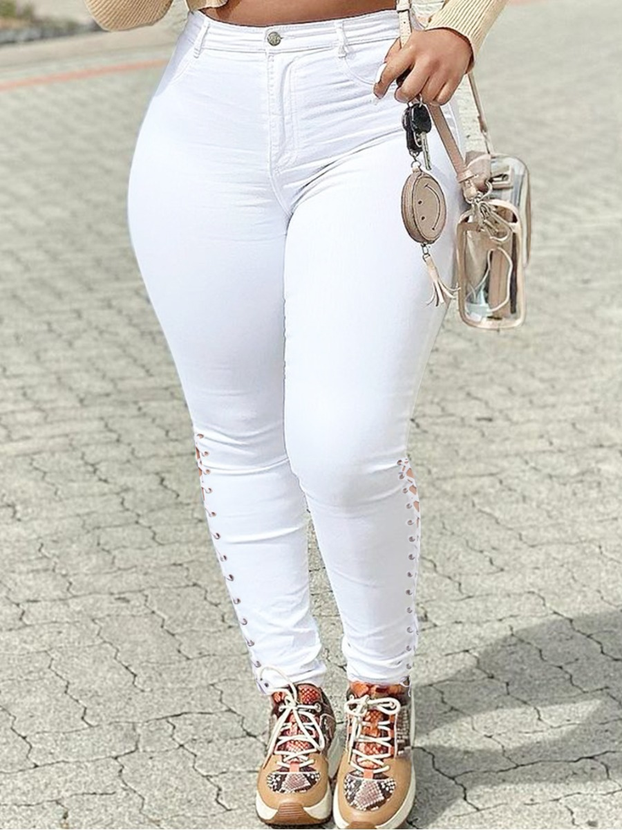 LW Bandage Hollow-out Design Jeans (Without Waist Chain)