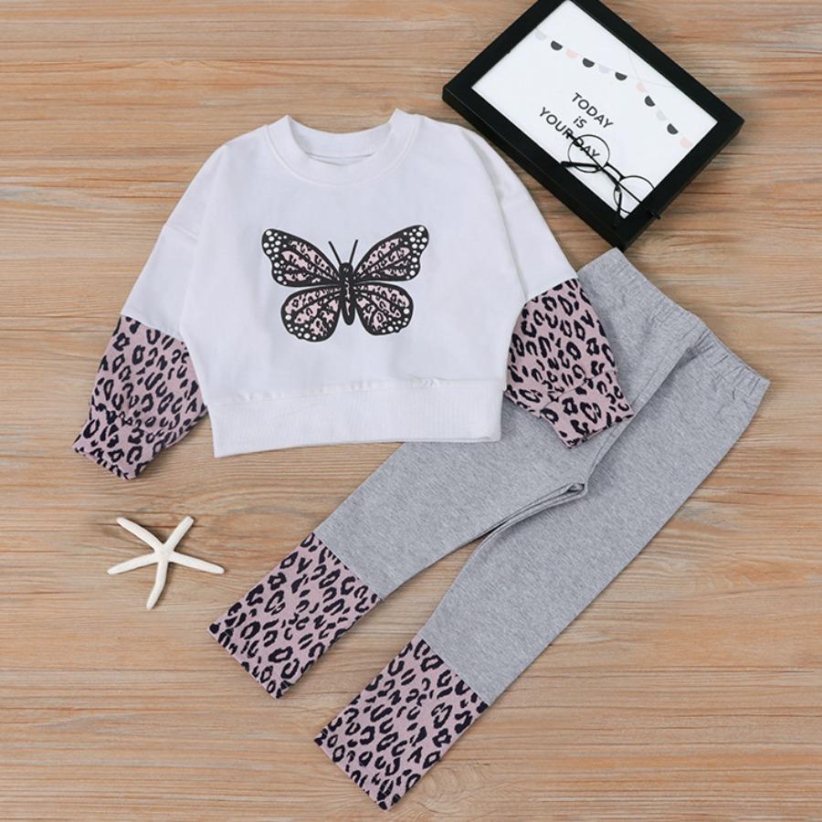 LW COTTON Girl Butterfly Leopard Print Pants Set