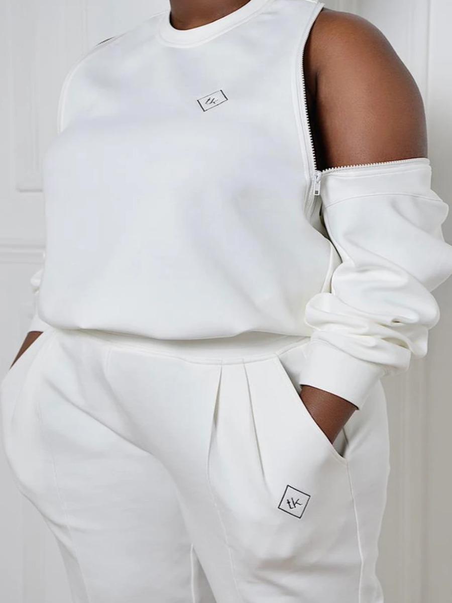 LW Plus Size Letter Print Back Zipper Sweatshirt