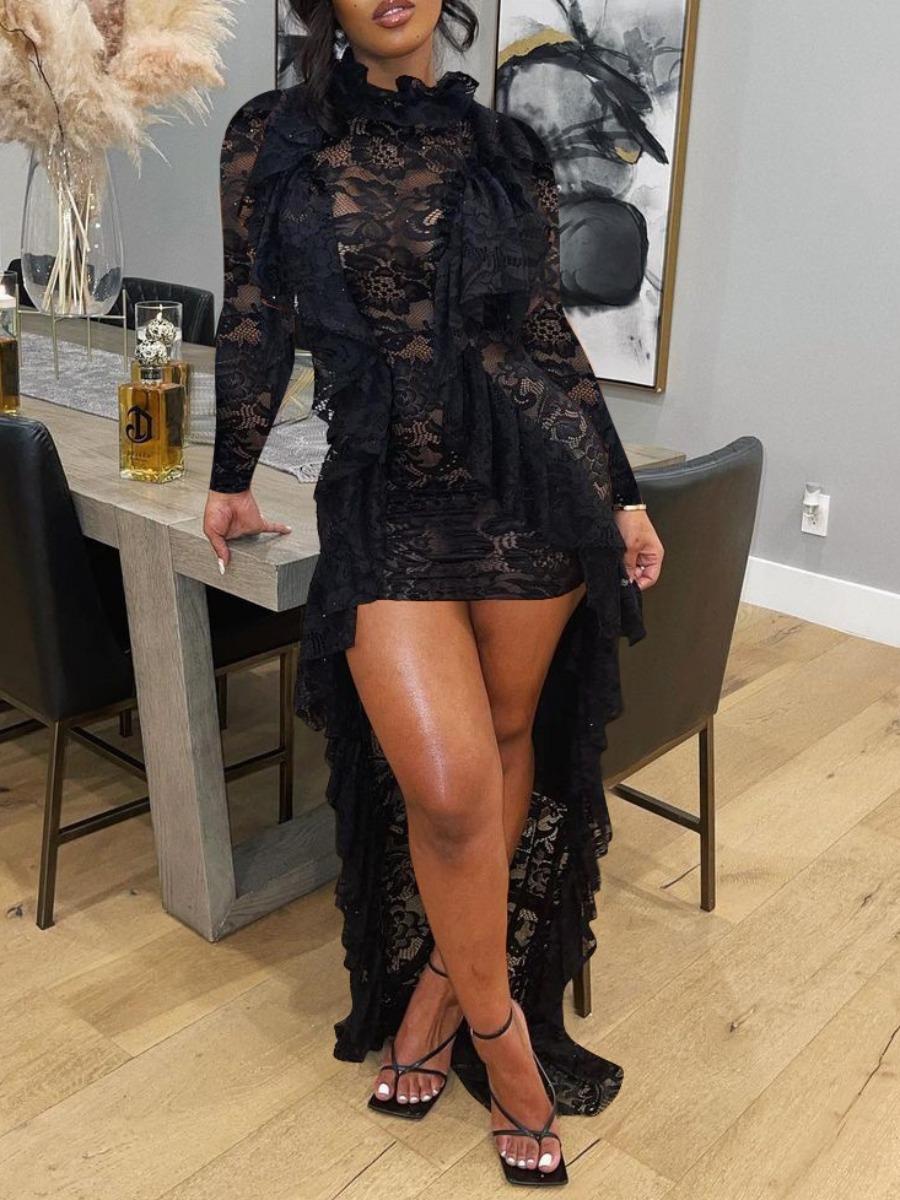 LW SXY See-through Flounce Design Asymmetrical Dress