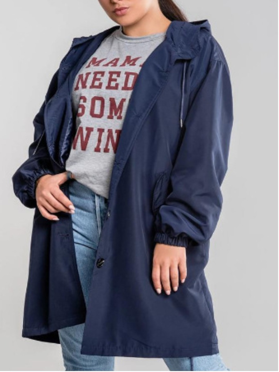 LW Plus Size Hooded Collar Button Design Trench Coat