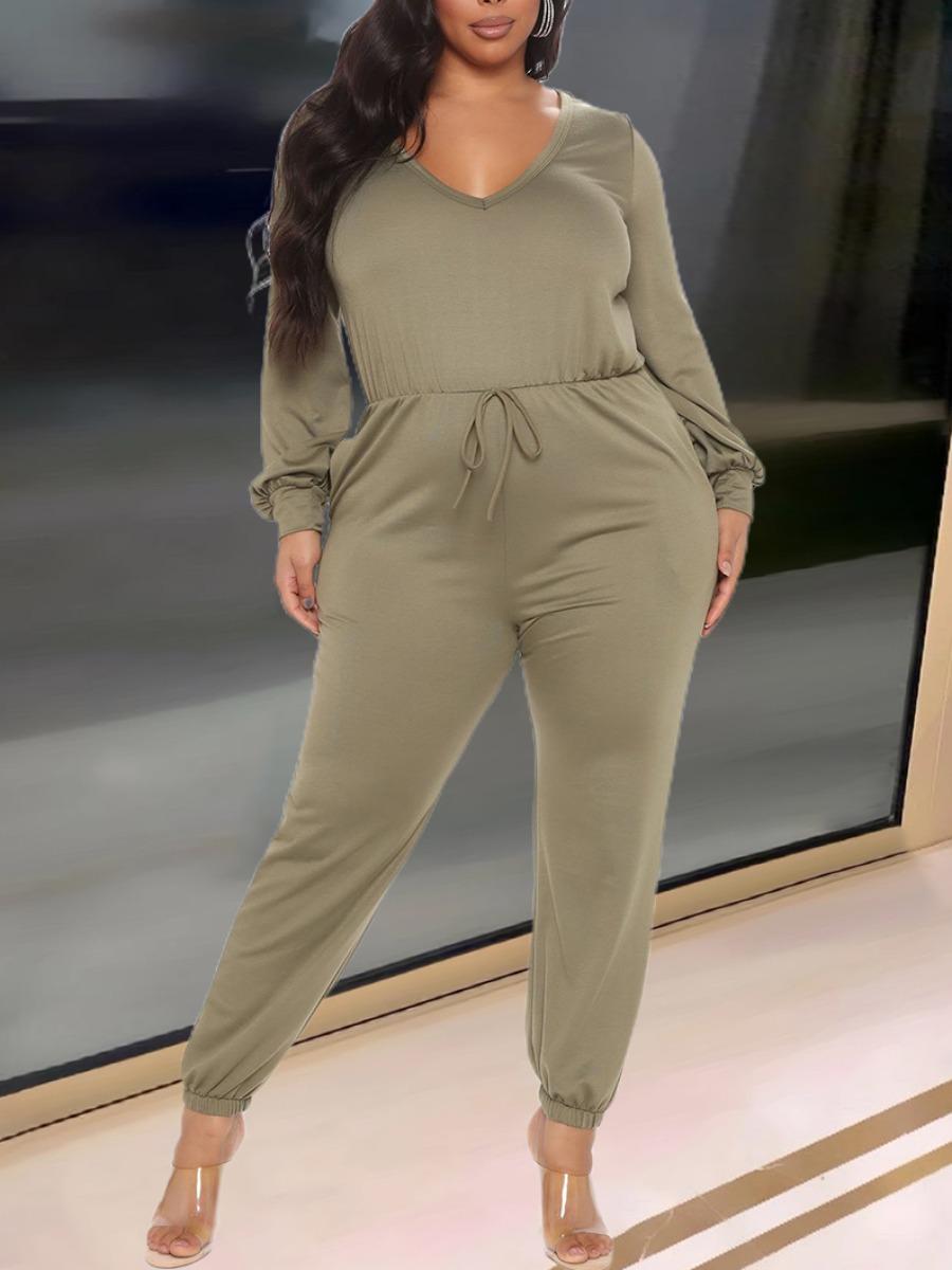 LW Plus Size Drawstring Split Back Jumpsuit