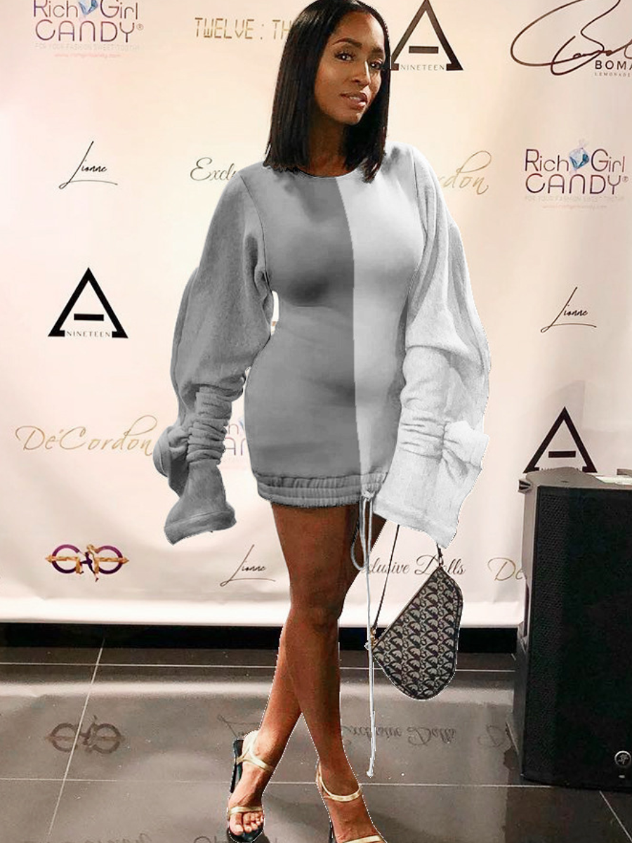 LW Casual O Neck Patchwork Grey Mini Dress