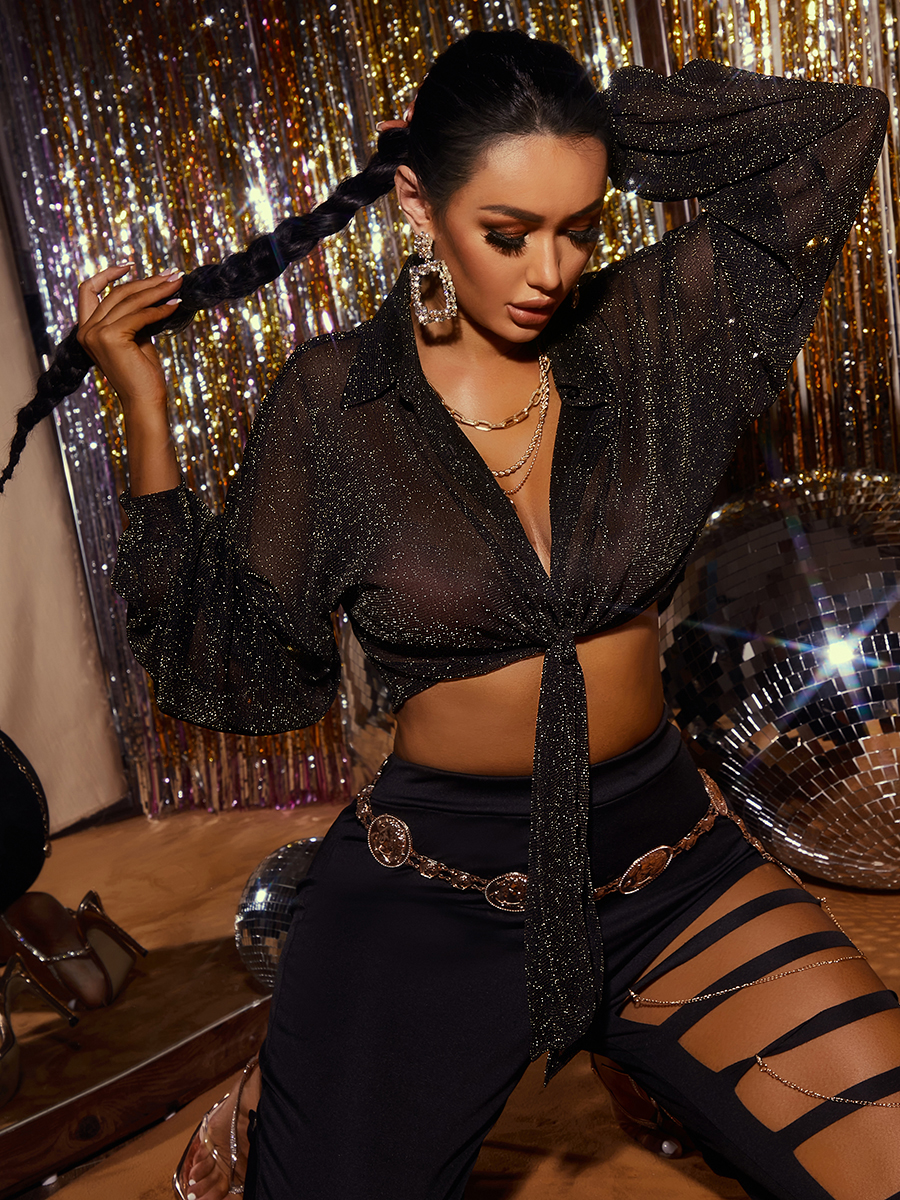 LW SXY V Neck See-through Loose Blouses