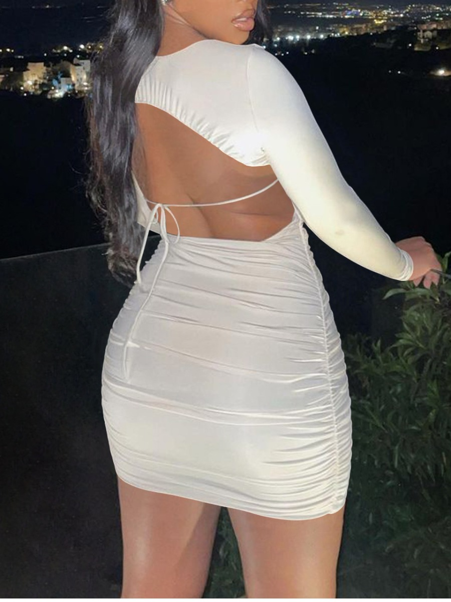 LW SXY Backless Ruched Bodycon Dress