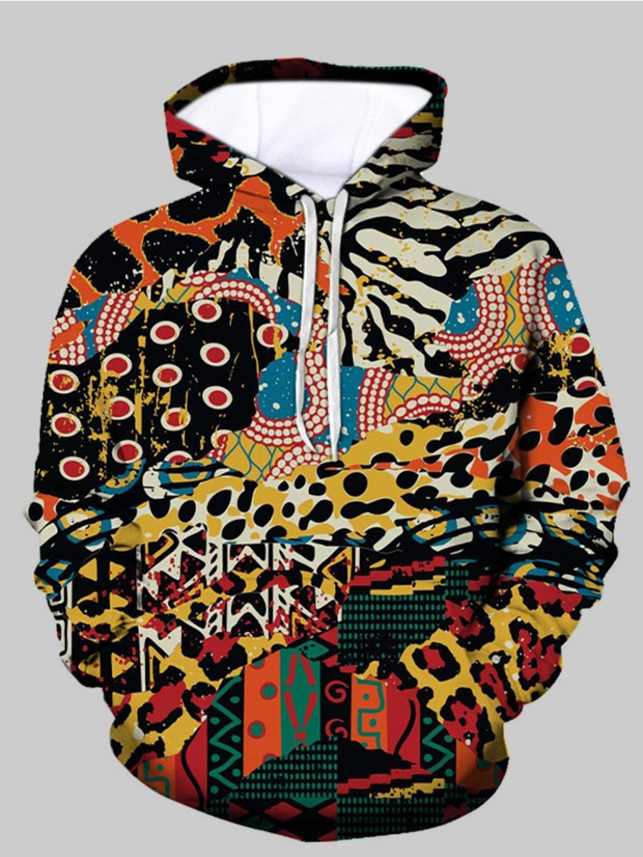 LW BASICS Men Mixed Print Oversized Hoodie