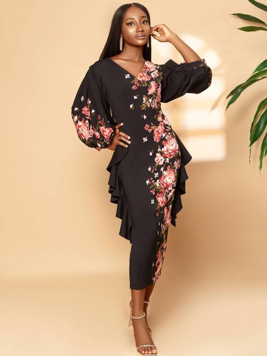 LW Floral Print Flounce Design Bodycon Dress