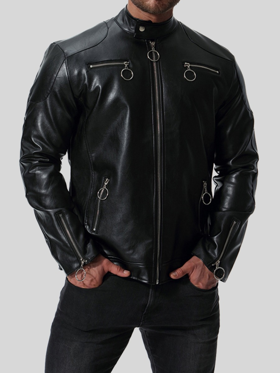 LW Men Zipper Design Leather
