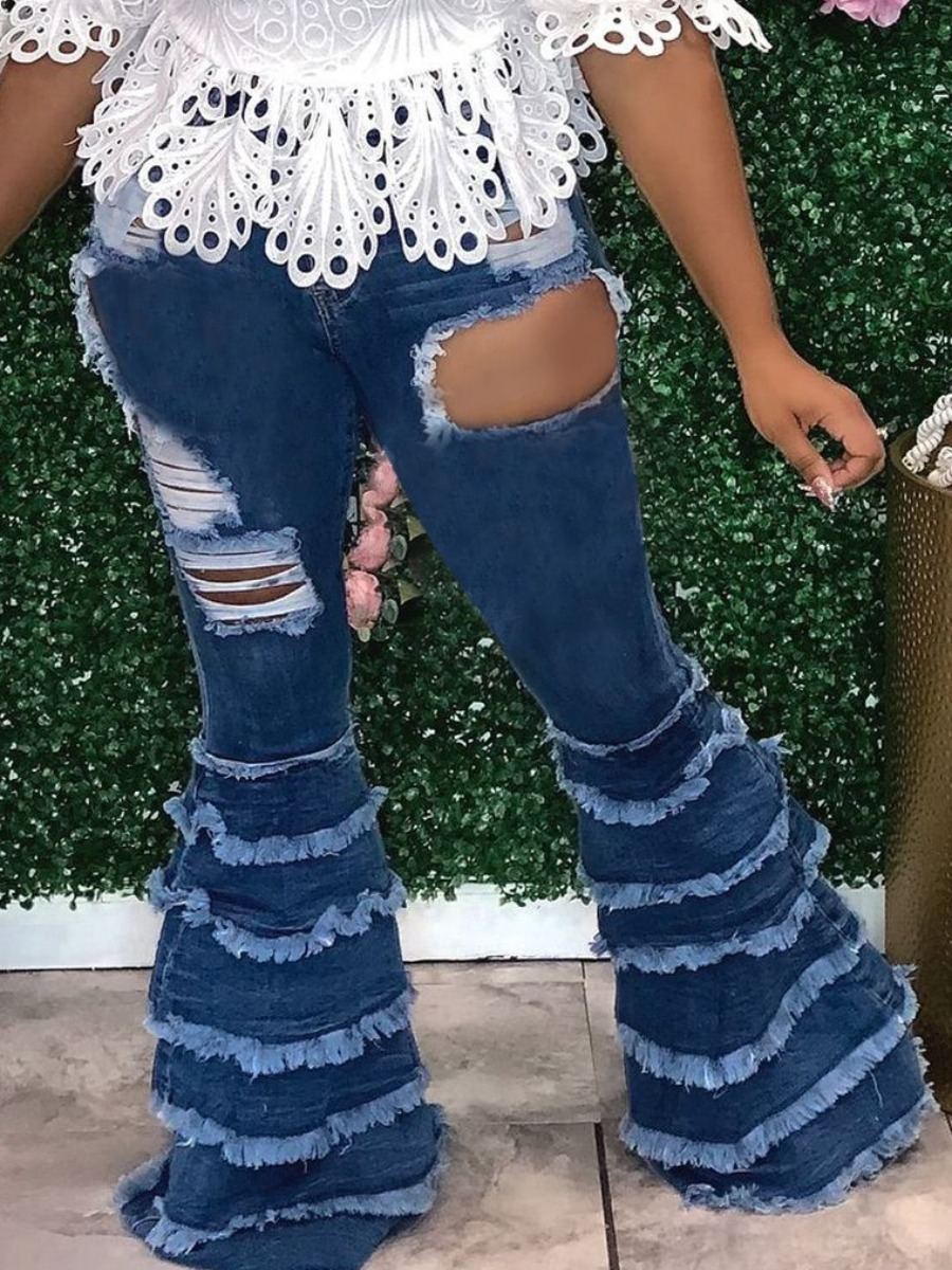 LW Ripped Flared Layered Cascading Jeans
