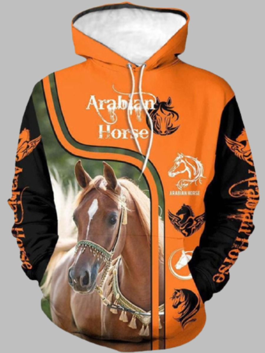 LW BASICS Men Horse Letter Print Hoodie