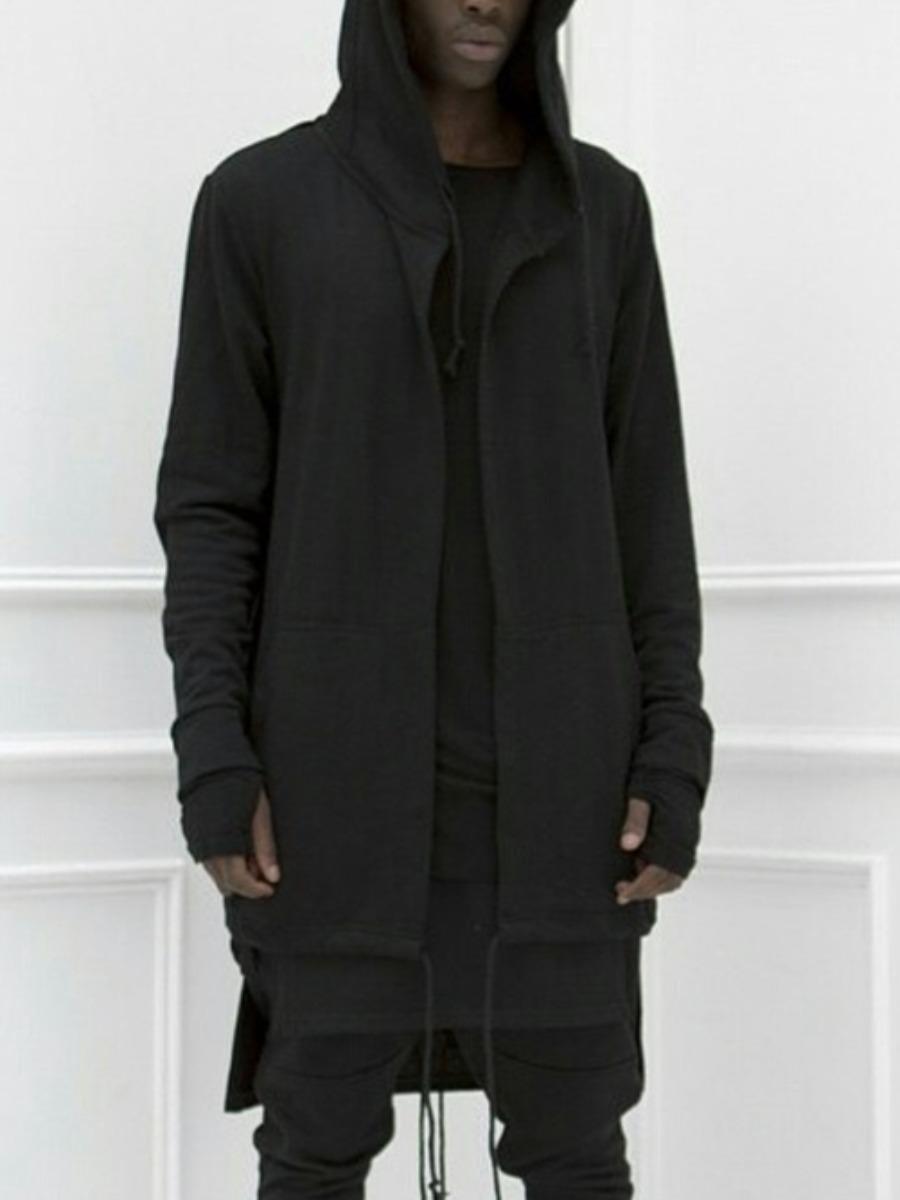 LW Men Hooded Collar Drawstring Jacket