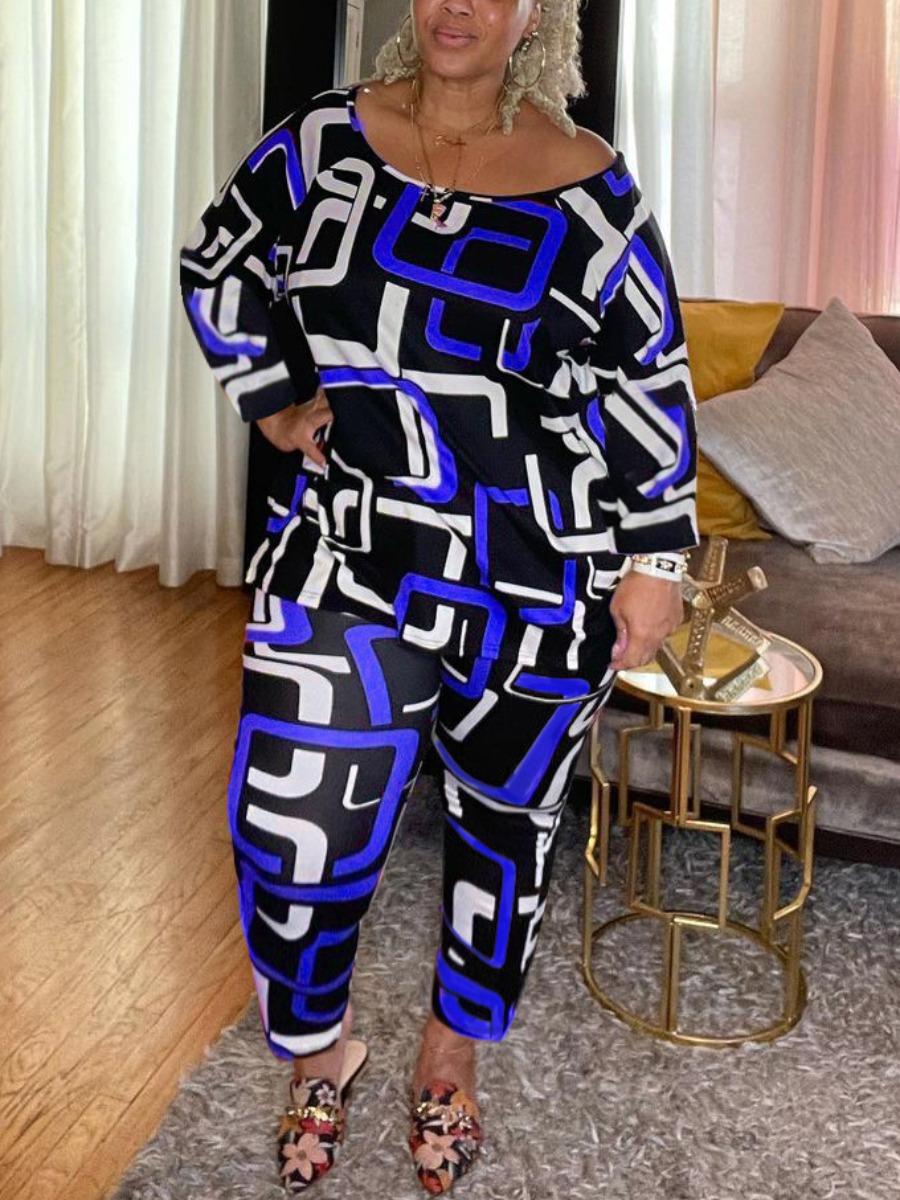LW Plus Size Round Neck Geometric Print Pants Set