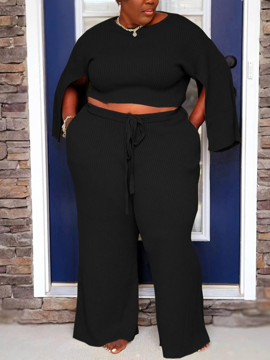 LW Plus Size Rib-Knit Slit Sleeve Pants Set