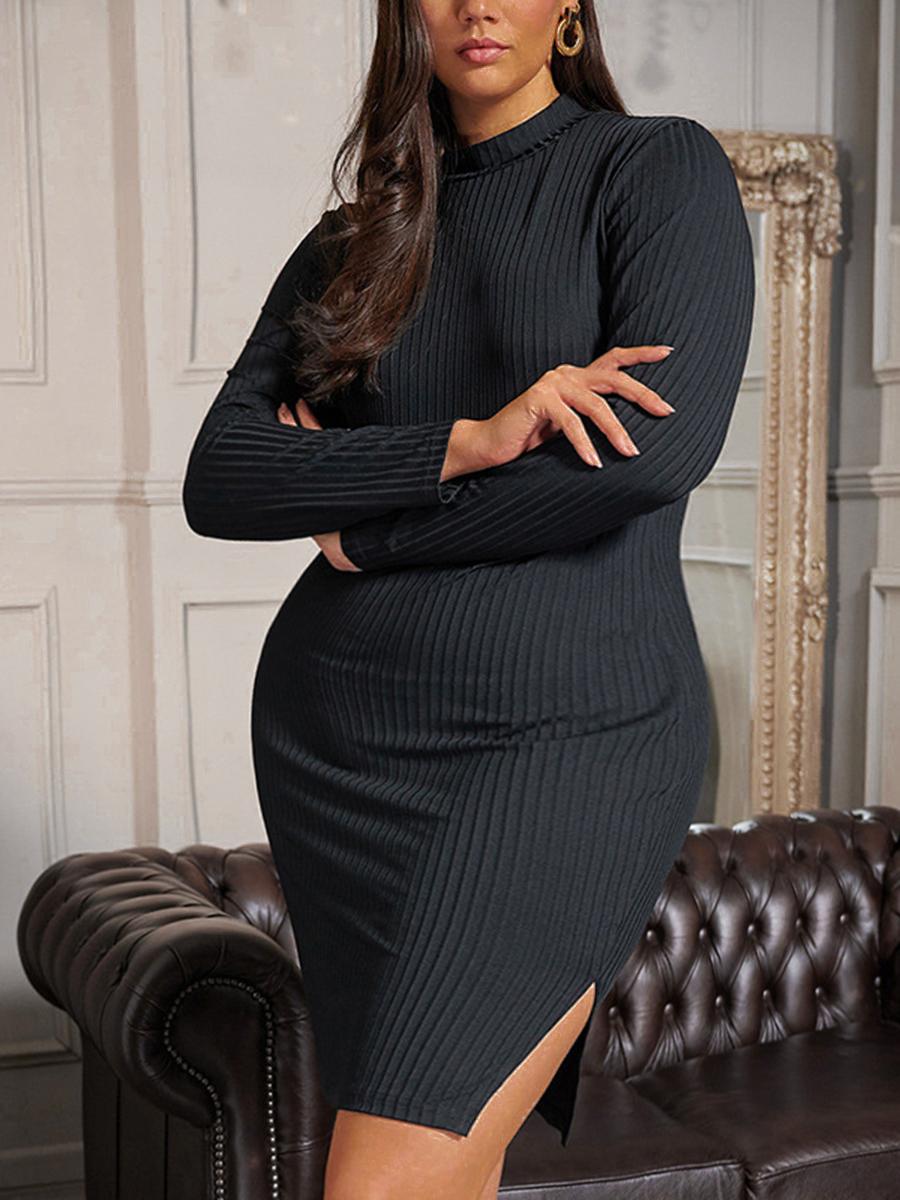 LW Plus Size Rib-Knit Slit Bodycon Dress