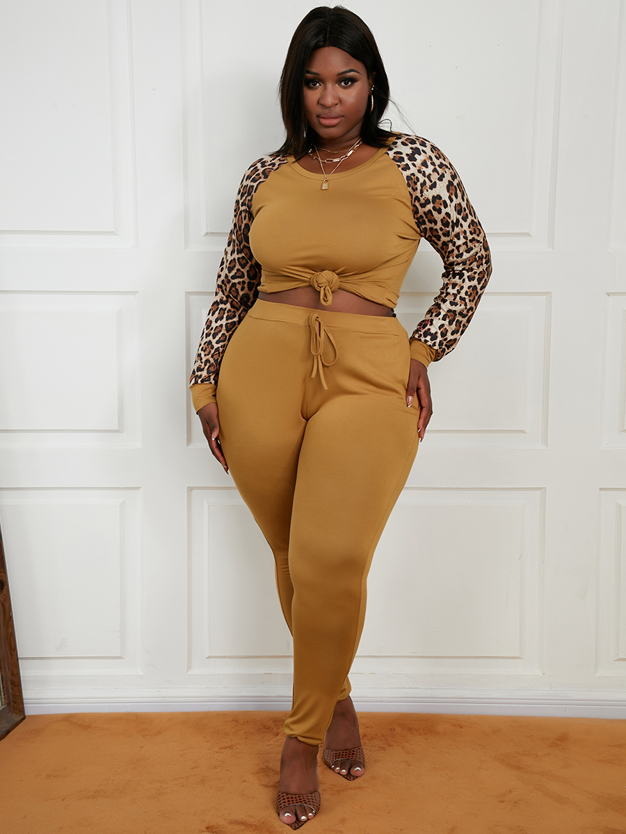 LW Plus Size Leopard Print Drawstring Pants Set