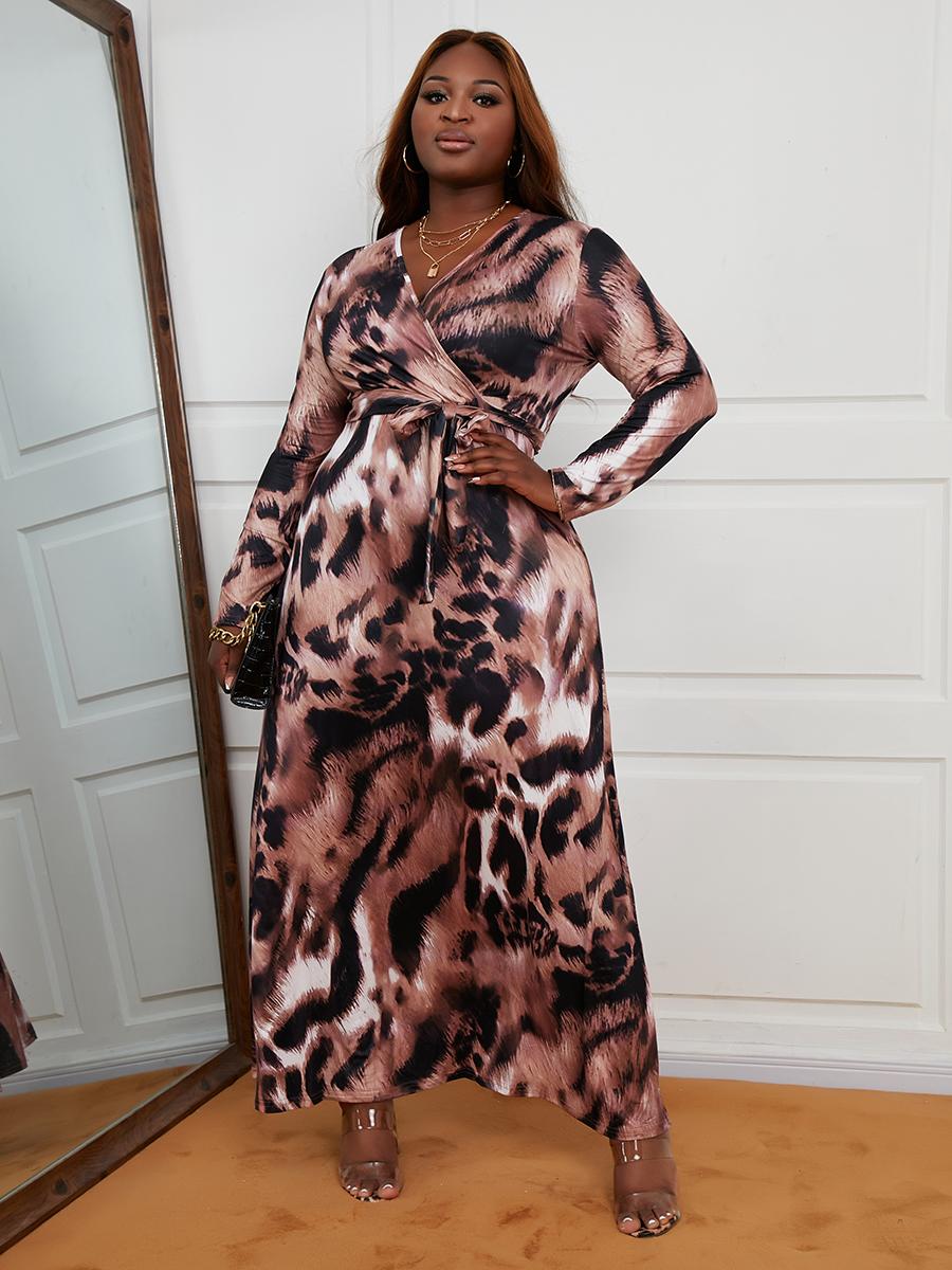 LW Plus Size V Neck Leopard Print A Line Dress