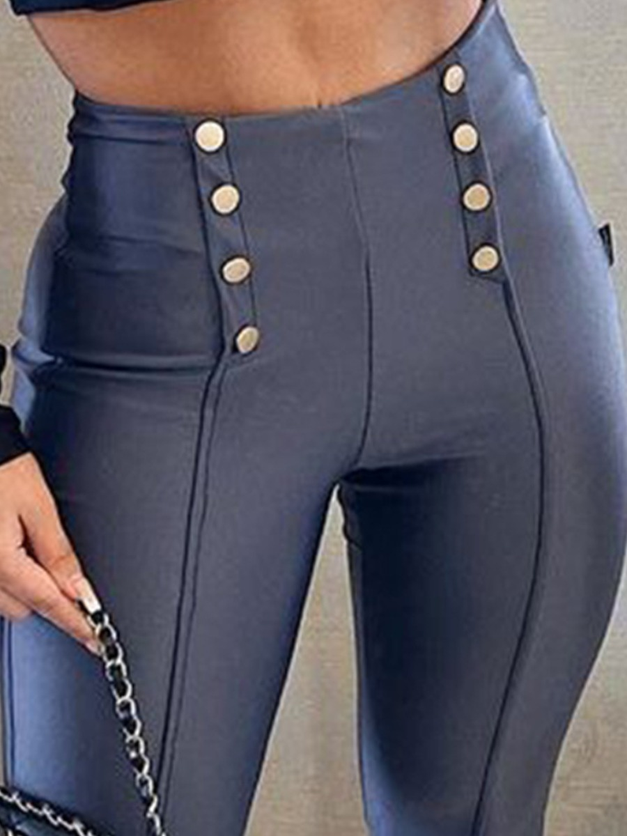 LW High-waisted Button Design Pants