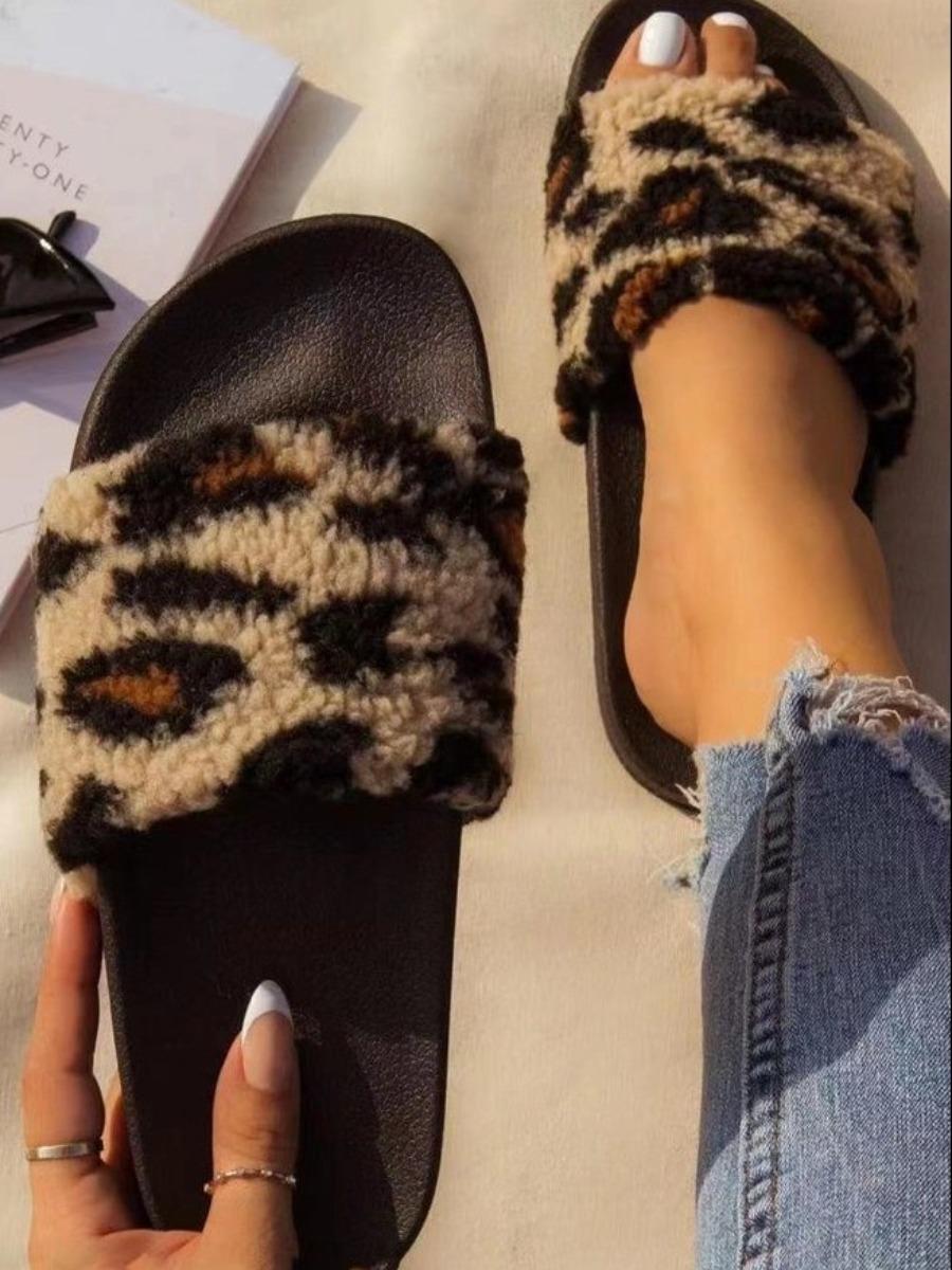 LW BASICS Leopard Print Plush Slippers