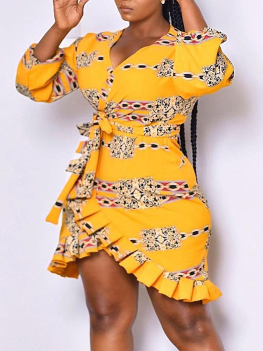 LW Chain Print Flounce Design Dress