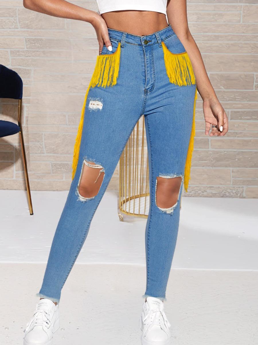 LW Ripped Tassel Design Jeans
