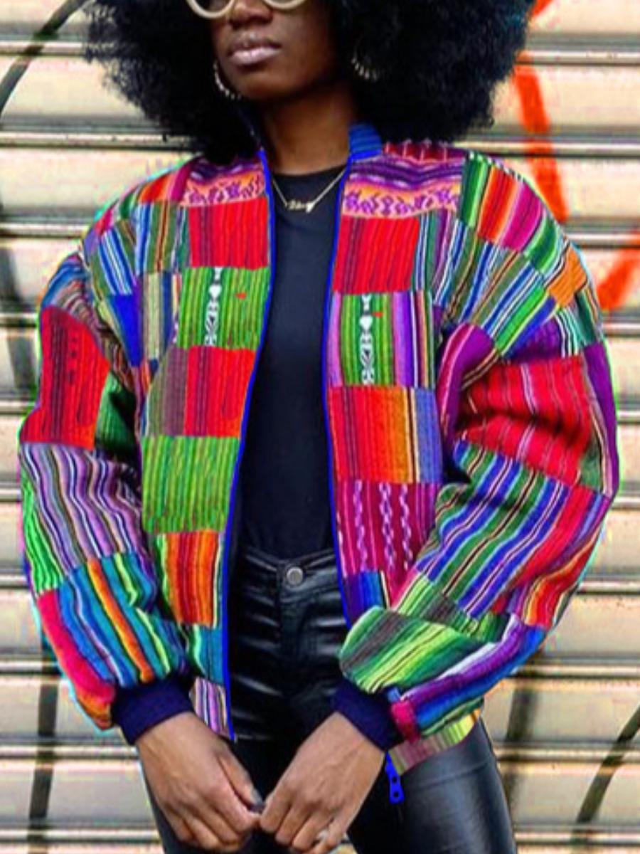 LW Men Print Patchwork Jacket