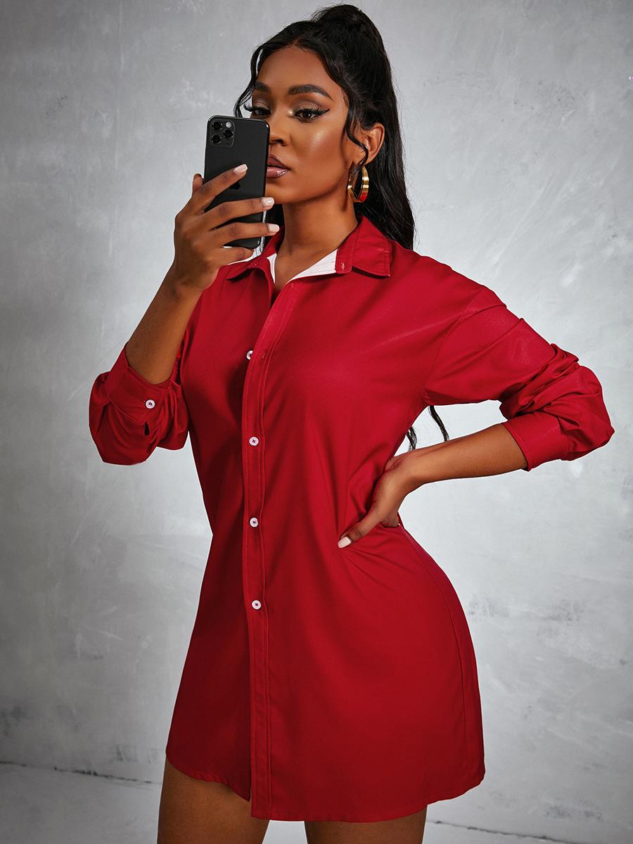 LW Turndown Collar Letter Print Shirt Dress
