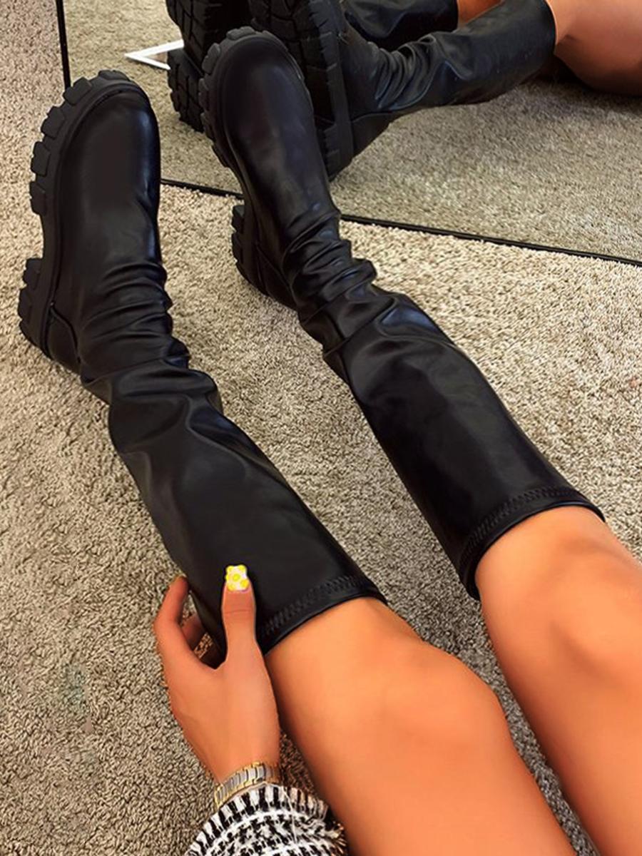 LW BASICS Chunky Sole Thigh High Boots