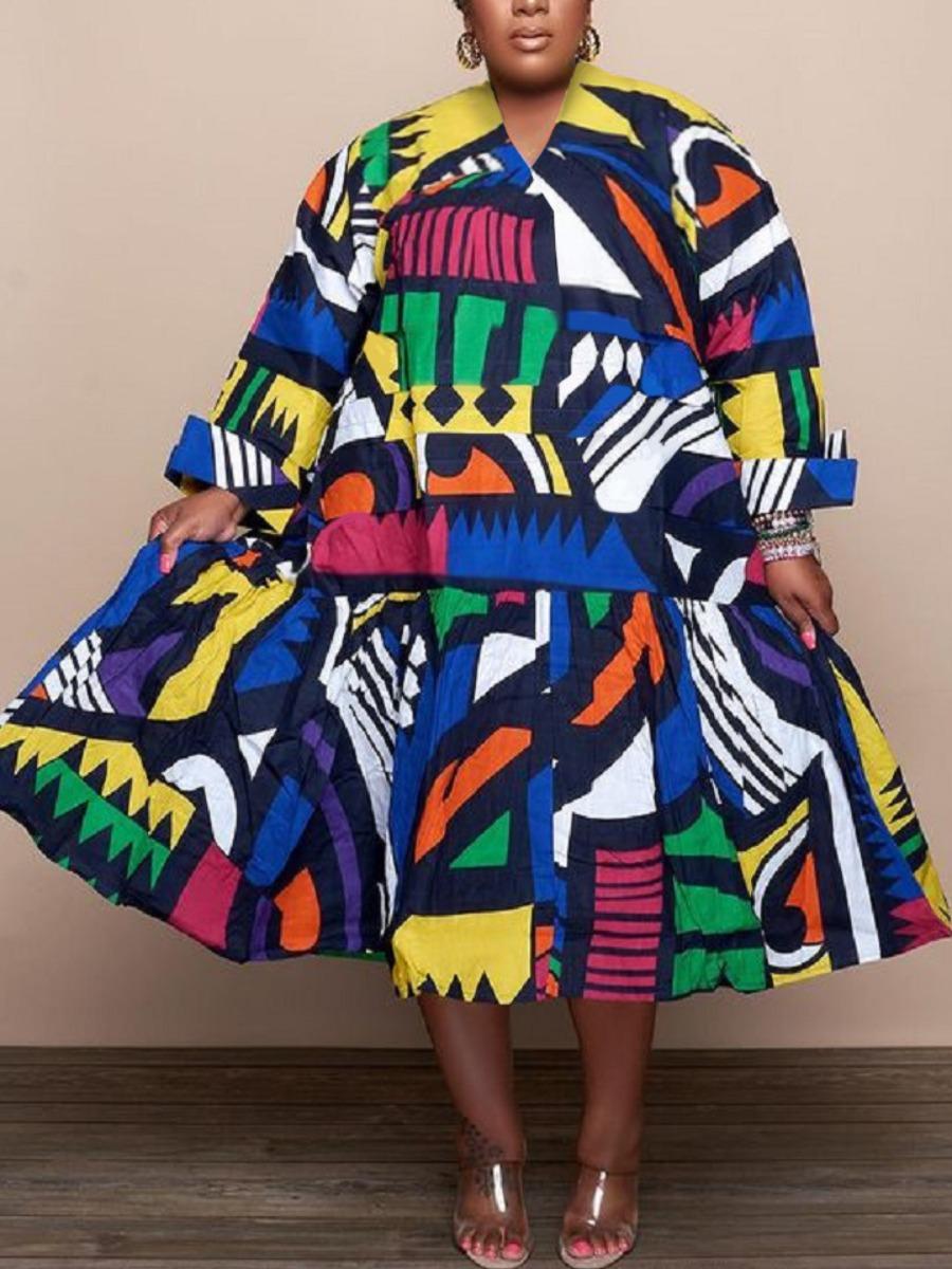 LW Plus Size Geometric Print Patchwork A Line Dress