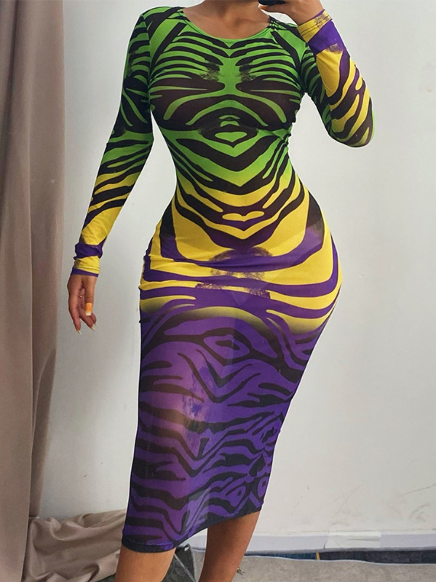 LW Gradient See-through Bodycon Dress