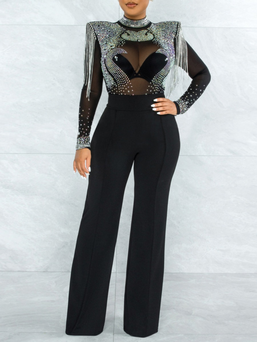 LW Sequined See-through Jumpsuit