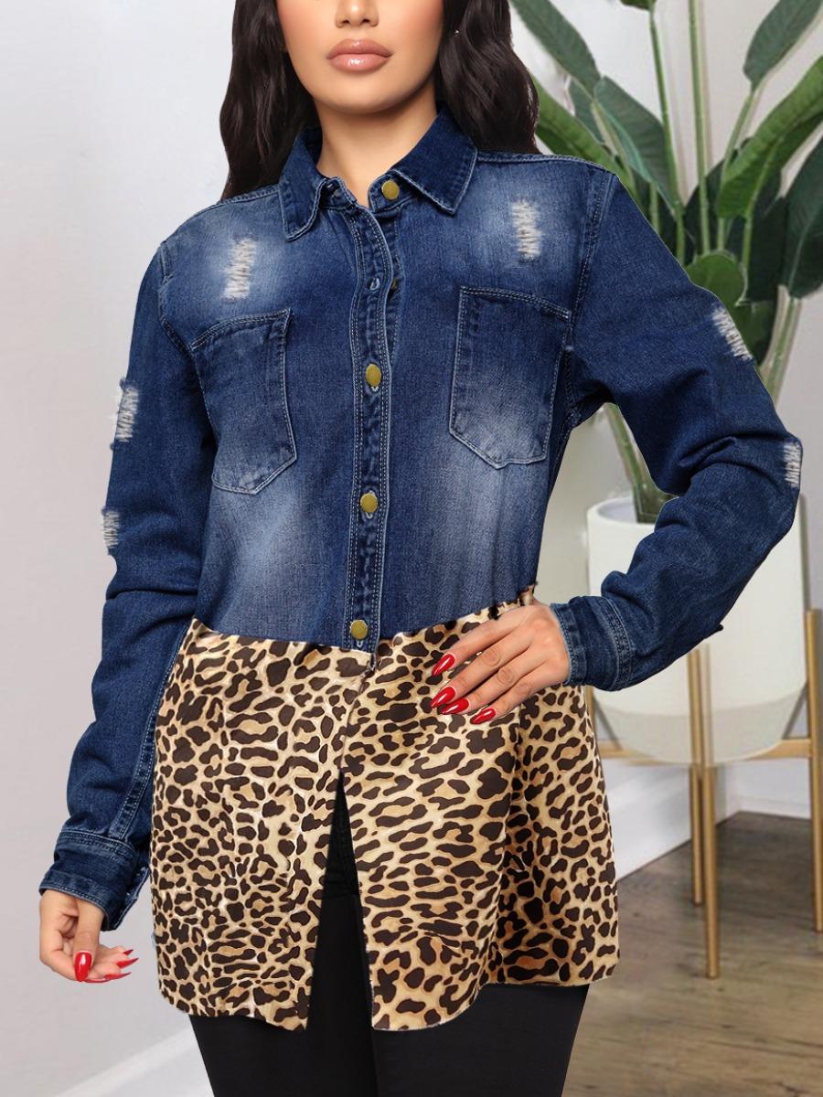 LW BASICS Leopard Print Ripped Denim Jacket